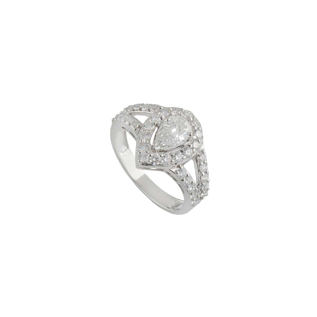 18k White Gold Pear Cut Diamond Ring 1.61ct